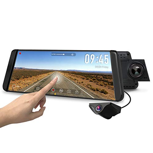 AUTO-VOX X2 Mirror Dash Cam with 9.88' Streaming Media 1296P FHD Touch Screen, 720P AHD Waterproof...