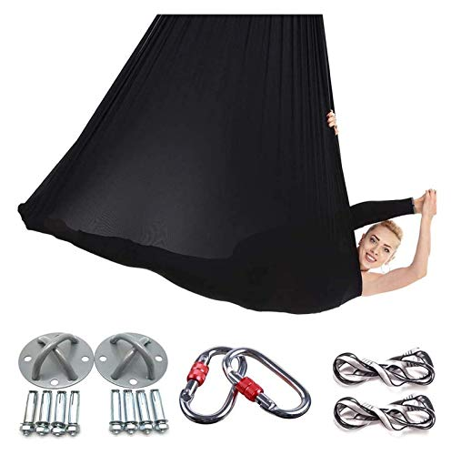 AYCPG Hamaca de Yoga, Yoga aérea Flying Trapeze Yoga Swing Herramienta Inversion Honda for Gym Home Fitness lucar (Color : Black)