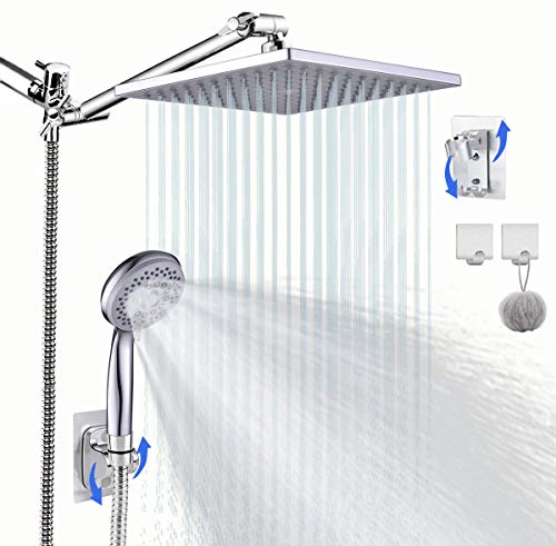 "Hand Shower Head with hose, 8'' High Pressure Rainfall Shower Head/Handheld Showerhead Combo with 11"" Extension shower Arm, Shower Separately or Together, with Two Shower Holders, Bath Sponge."