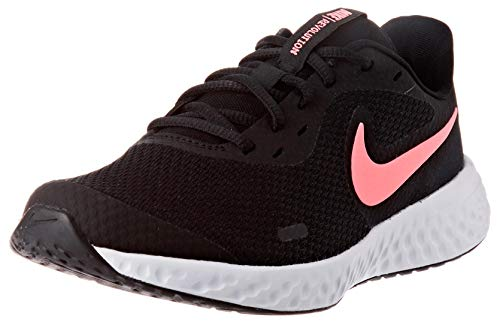 Nike Unisex-Kinder Revolution 5 (GS) Laufschuhe, Schwarz (Black/Sunset Pulse), 40 EU