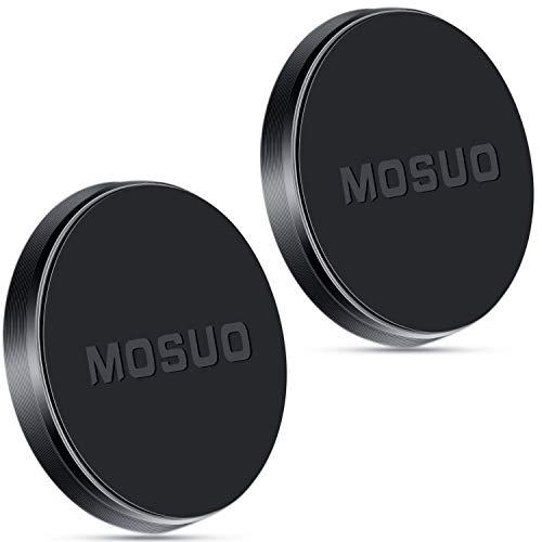 MOSUO 2 Pack Support Telephone Voiture Magnétique Universel Aimant Telephone Voiture, Porte Telephone Voiture Aimant Tableau de Bord avec 4 Plaques Métalliques pour iPhone Samsung GPS MP3-Noir