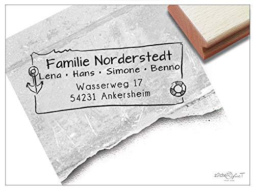 Stempel Individueller Adressstempel MARITIM Anker Norden Meer - Familienstempel personalisiert Name Adresse, Geschenk für Familie - zAcheR-fineT
