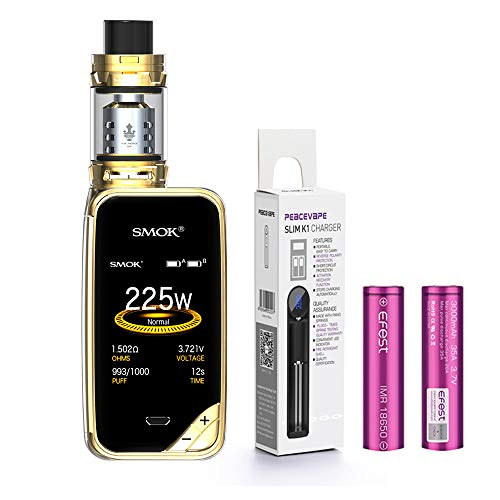 AUTÉNTICO SMOK X PRIV Kit 225W TFV12 PRINCE 2mL Tank Cigarrillo electrónico (Oro) SMOK XPRIV con 2 X EFEST 3000 mAh Batería y cargador de 18650 batería PEACEVAPE™ Sin Tabaco - Sin Nicotina
