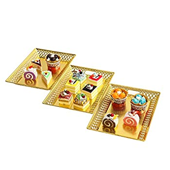 Gold Rectangle Trays for Dessert Table Serving Parties  Heavy Duty Cake Stand in Elegant Shape for Platters Cupcake Birthday Parties Dessert Weddings and More Food Safe 3 Pcs