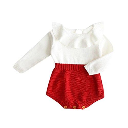 BeautyTop Kleinkind Neugeborenen Mädchen Baby Gestrickten Pullover Winter Warme Prinzessin Strampler Overall Kleidung Outfit (Rot, 60/0-3 Monate)