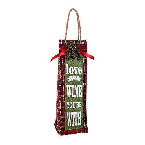 Bolsas para botellas de vino tinto con cordón de Navidad, con diseño de cordón, para decoración de Navidad, para el hogar, regalo (A)