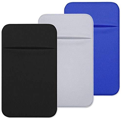 CKANDAY - Tarjetero con Adhesivo para la Parte Trasera del teléfono (3 Unidades, Tejido elástico, Tarjetero, Tarjeta de crédito, Bolsillo para Smartphones Android)