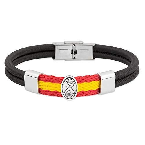 Rhodium Plated Stainless Steel Bracelet Collection Soul Civil Guard Emblem Flag Spain Abseil