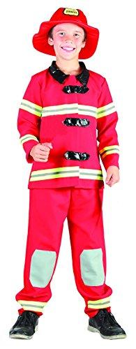 Rire Et Confetti - Fibpol022 - Déguisement pour Enfant - Costume Petit Pompier Rouge Luxe - Garçon - Taille M