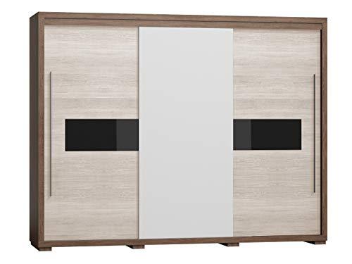Mirjan24 Schwebetürenschrank Tobago TG41, 3 türig Kleiderschrank mit Spiegel, Kleiderstange und Einlegeboden, Schlafzimmer, Modern Design Diele & Flur Schrank, Garderoben (Santana Dunkel + Santana)