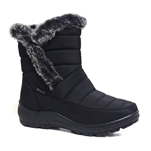 Cushion Walk Thermo-Tex Fur Lined Womens Snow Boots Ladies Snug Warm Fashion Ankle Boots Size 3-8 (5 UK, Black.)