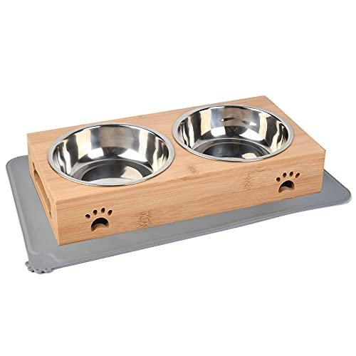 Ciotola per Cani e Gatti Acciaio Inox, Distributore di Cibo per Gatti, Ciotola per Cani doppia Grande, Ciotola per Gatti Rialzata, Tappetino per Ciotola per Cani Antiscivolo (350 ml per ciotola)