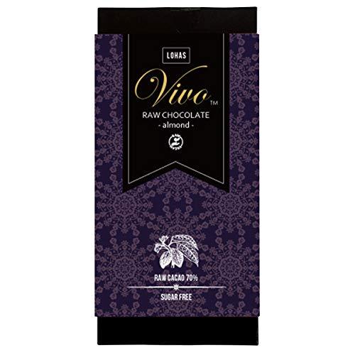 アーモンド ローチョコレート『Vivo』 生カカオ70% 砂糖・乳製品は一切不使用 酵素が生きた生チョコレート (1枚)