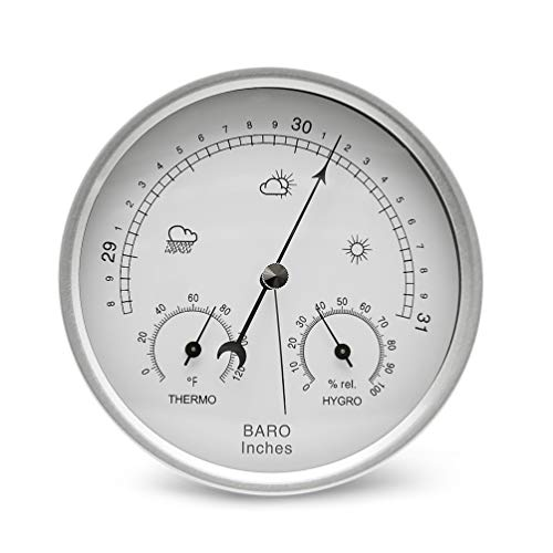 AMTAST Dial Type Barometer Thermometer Hygrometer Weather Station Barometric Pressure Temperature Humidity Measurement Easy Reading Display (Imperial)
