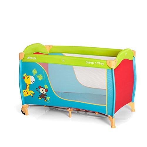 Hauck Sleep'n Play Go - cuna de viaje 3 piezas 120 x 60cm, de 0 meses hasta 15kg, con ruedas, colchón, bolsa de transporte, plegable, ligera y estable, colorido