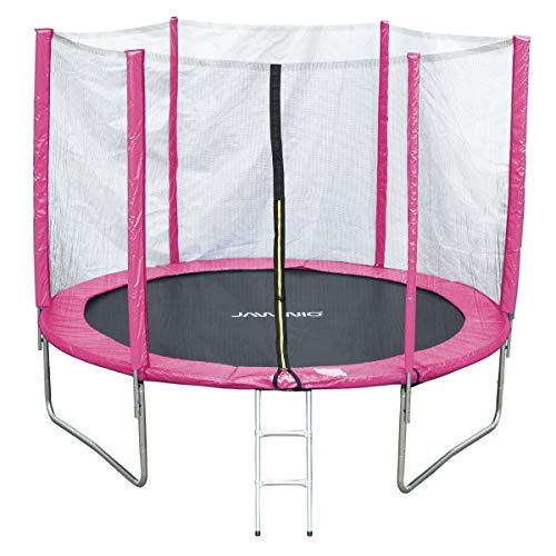 Jawinio Cama elástica 305cm (10F) trampolín de jardín Jumper Set Completo, Incluye Escalera, Red de Seguridad y Salto Matte Rosa