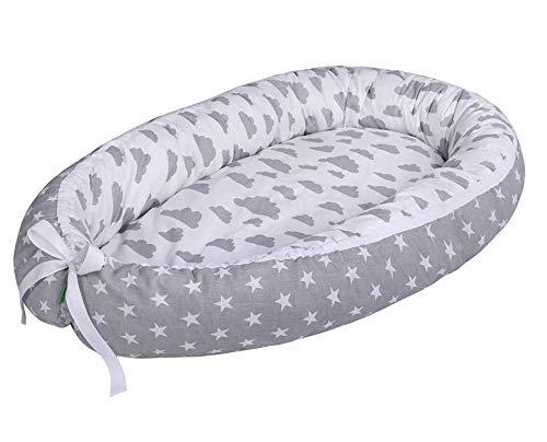 Lulando Capazo de bebé multifuncional Lulando (80 x 45 cm) gris Grey Clouds/Stars Grey 1 Unidad 500 g