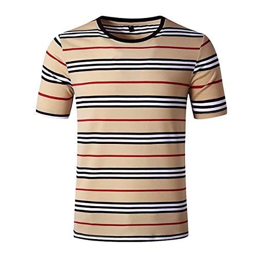 Camiseta de manga corta con cuello redondo y rayas para hombre