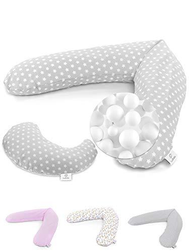 SOULBABY ® Stillkissen Set XXL 190cm groß mit Mikroperlen Füllung & Nachfüllpack - perfekt als Schwangerschaftskissen & Seitenschläferkissen