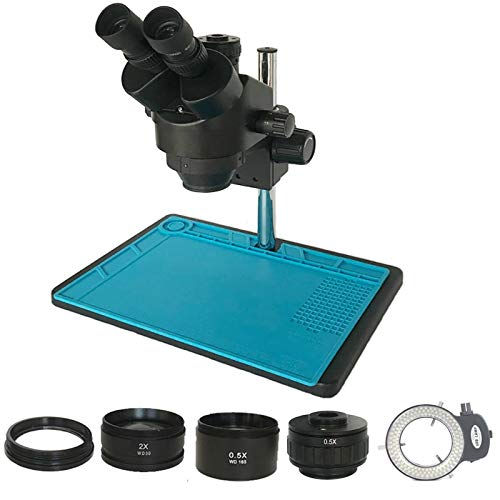 HYY-YY Microscopio de 3.5X-90X estéreo trinocular con zoom simul-focal 0.5X objetivo lente soldadora microscopio industrial (color: 3.5X 90X blanco)