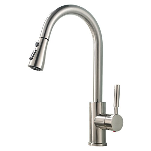 Heselian Modern Monobloc Single Lever Swivel Spout Brass Spray Pull Out Sink Brushed Nickel Steel Kitchen Mixer Tap,Pull Down Hot and Cold Kitchen Taps