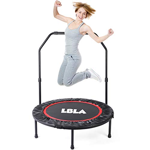 LBLA Fitness Trampoline for Adults, Foldable Trampoline with Adjustable Handrail, Rebounder Bounce Workout for Children Kids, Best Aerobic Exercise Fitness Equipment in the Gym or Home Outdoor