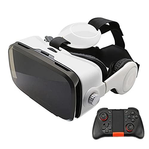 YMXLXL 3D VR Gafas de Realidad Virtual, VR Glasses Visión Panorámico 360 Grado Película 3D Juego Immersivo para Móviles 4.0-6.0Pulgada,Gafas VR con Auriculares,C