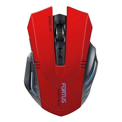 Speedlink FORTUS Gaming Mouse Wireless - 5 Tasten Maus Kabellos für Büro/Home Office (LED Beleuchtung  - Einstellbar bis 2400 dpi - 6m Reichweite) für PC/Notebook/Laptop, schwarz (Generalüberholt)