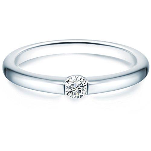 Tresor 1934 Damen-Ring/Verlobungsring/Spannring Sterling Silber rhodiniert Zirkonia weiß 60451021