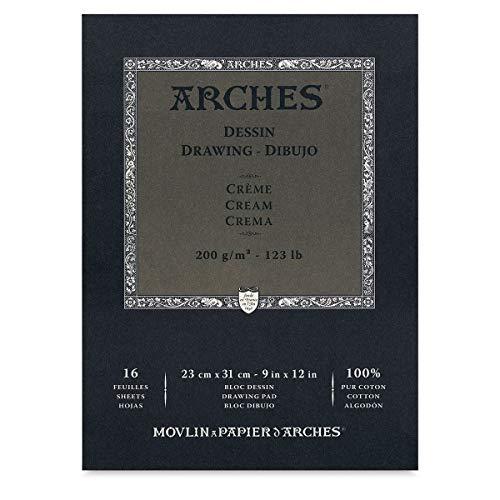 Arches 1795113 Dessin Zeichenpapier Block (26 x 36 cm, 180 g/m² Kopfgeleimt) 16 Blatt extraweiß