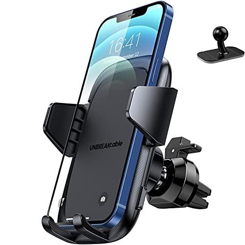UNBREAKcable Soporte Movil Coche [2 en 1], Soporte Móvil Teléfono para Salida de Ventilación del Coche con Rotación de 360 Grados Compatible con iPhone 12/12 Pro/11/X/8, Samsung, Xiaomi y Más