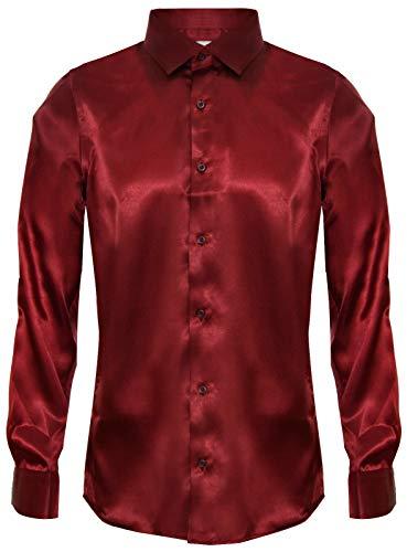 Camisa para Hombre Color Vino Tinto de Raso de Seda de Manga Larga/Elegante Casual. A la Medida M