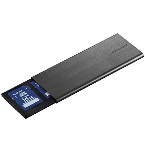 エレコム メモリカードケース メモリークリップ SDケース アルミタイプ スライドオープン式 クリップ付 Lサイズ ブラック CMC-SDCAL02BK