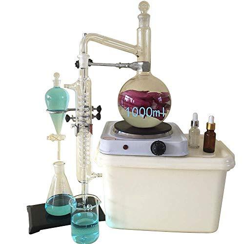 1000ML Kit di vetreria da laboratorio, Moonshine still, distillatore di olio essenziale ancora per acqua pura, con pallone per tubi di condensatore e riscaldatore