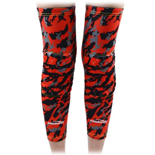 COOLOMG 1 Pair Basketball Knee Pads Kids Youth EVA Pads Compression Leg Sleeves Protector Gear Red S