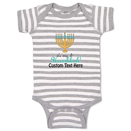 Custom Personalized Baby Bodysuit It's My 1St Hanukkah! Menorah Candle Stand with 9 Funny Cotton Boy & Girl Striped Baby Clothes Stripes Gray White Personalized Text Here 6 Months