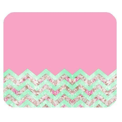 Gaming Mauspad Custom, Girly Mint Pink Floral Chevron Zickzack Muster Anti-Rutsch Gummi Mauspad Gaming Mauspad