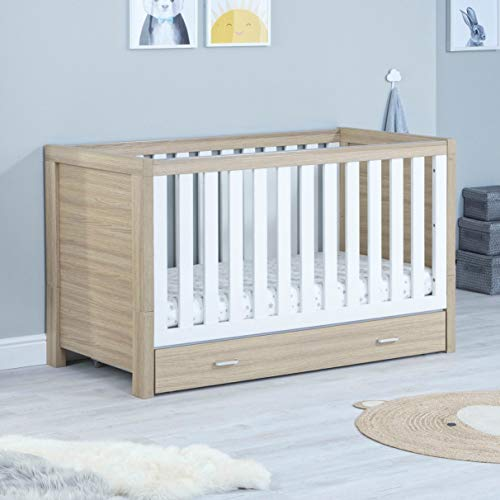 Babymore Luno Nursery Cot Bed with Drawer - Converts into a Toddler Bed (With Drawer, White & Oak)