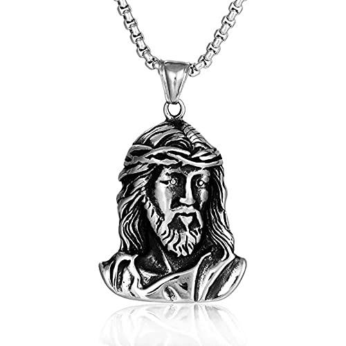 Acero inoxidable Cristo Jesús cabeza religiosa colgante collar de la iglesia regalo de joyería para él con cadena