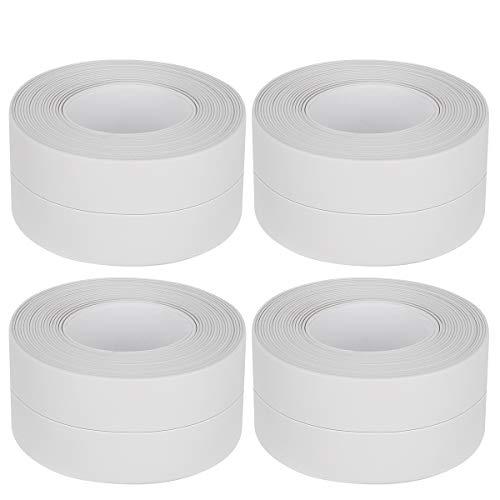 Tape Caulk Strip, Waterproof Mildew PVC Self Adhesive Caulking Sealing Tape for Kitchen Toilet Bathroom Bathtub Sink Basin Edge Floor, Windows and Wall Sealing, 1.5