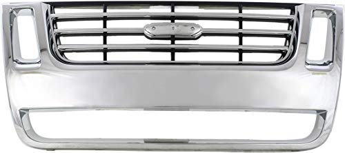 Grille Assembly Compatible with FORD EXPLORER 2006-2010/EXPLORER SPORT TRAC 2007-2010 Plastic Chrome Shell/Black Insert Eddie Bauer/XLT/Limited Models - CAPA