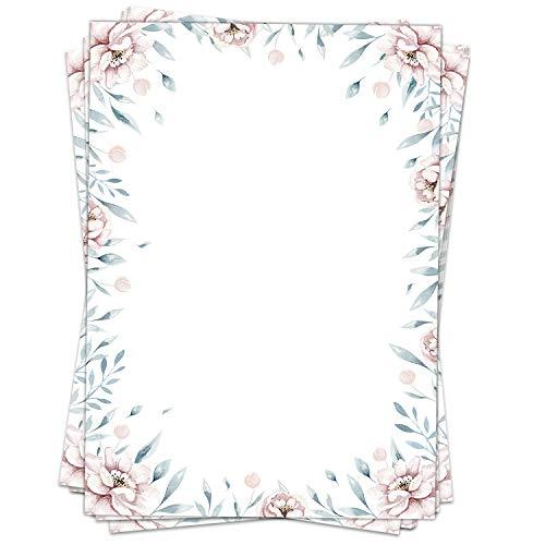 50 Blatt Briefpapier (A4) | Zarte Romantik Rosen | Motivpapier | edles Design Papier | beidseitig bedruckt | Bastelpapier | 90 g/m²