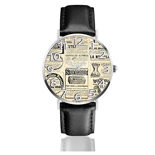 Periódico Vintage con Relojes publicitarios Reloj de Pulsera de Cuero Duradero PU Reloj de Cuarzo Life Silence Acero Inoxidable como Regalo de cumpleaños