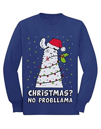 Camiseta de Manga Larga para niños - - Christmas no Probllama - Divertido Jersey Féo de Navidad 3/4 Años 104cm...