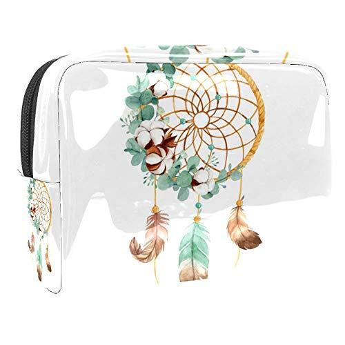 TIZORAX Trousse de toilette pour femme - Attrape-rêves avec fleur de coton - Grande trousse de toilette en PVC - Pratique - Avec fermeture éclair