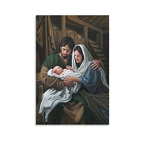 Póster de la familia de Jesús, el nacimiento de Jesús en lienzo y arte de la pared con impresión moderna para dormitorio familiar de 30 x 45 cm