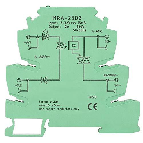 Relé de carril DIN Módulo de relé de estado sólido MRA-23D2 Relé 2A Relé ultrafino Entrada de 6,2 mm 3-32VDC para controlador de termostato PID