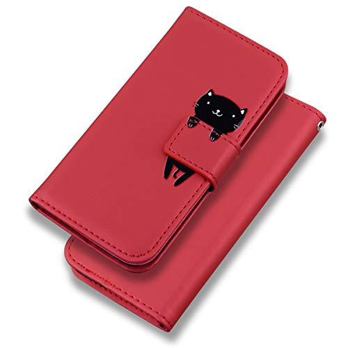 Phone Case for Huawei P30 Lite/P30Lite Hülle, Karikatur Katze Tiere Muster Handyhülle Brieftasche Schutzhülle Leder Flip Case Wallet Cover Klapphüllen Tasche Etui mit Kartenfächern Stand (Rot)