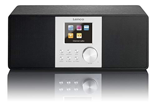 Lenco Internetradio Digitalradio DIR-200 WLAN mit DAB/DAB+ und UKW-Tuner, Radiowecker (7 cm TFT Farb-Display, 2 Weckzeiten, AUX-Eingang, Line-Ausgang, Fernbedienung), schwarz