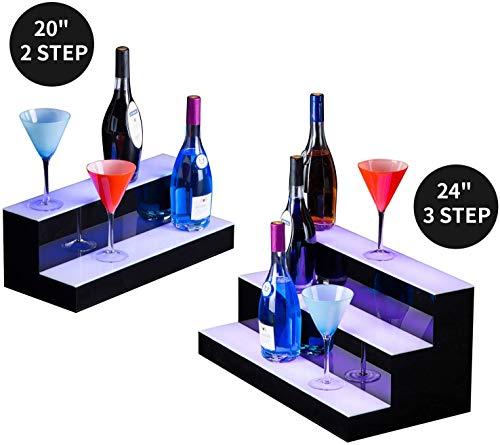 Justinz led-verlichte alcoholfles met display voor alcoholische dranken en glazen met afstandsbediening.